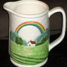 Otagiri Textured Country Farmhouse Rainbow Ceramic Water Pitcher Milk Jug Dimpled Handled