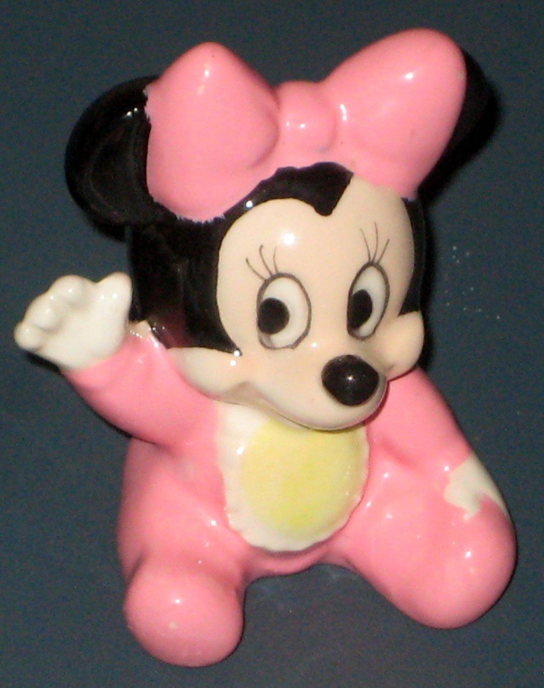 Baby Minnie Mouse Ceramic Figure Figurine Pink Disney