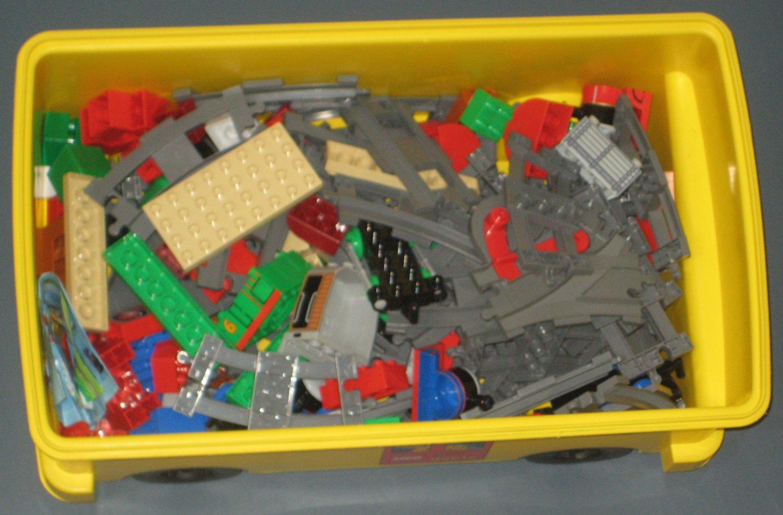 SOLD Lego Duplo Lot Thomas the Train Tank Engine Tracks + School Bus Storage