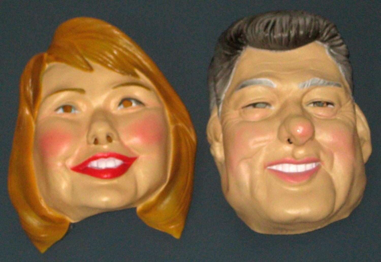 Bill and Hillary Clinton Vinyl Mask Set by Cesar Halloween Masquerade President 1992