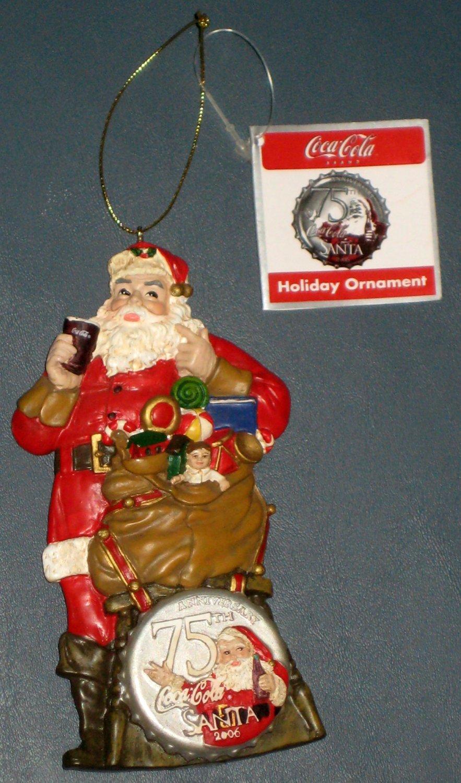Coca Cola 75th Anniversary Christmas Tree Ornament Coke Kurt Adler Sundblom Santa Claus 2006