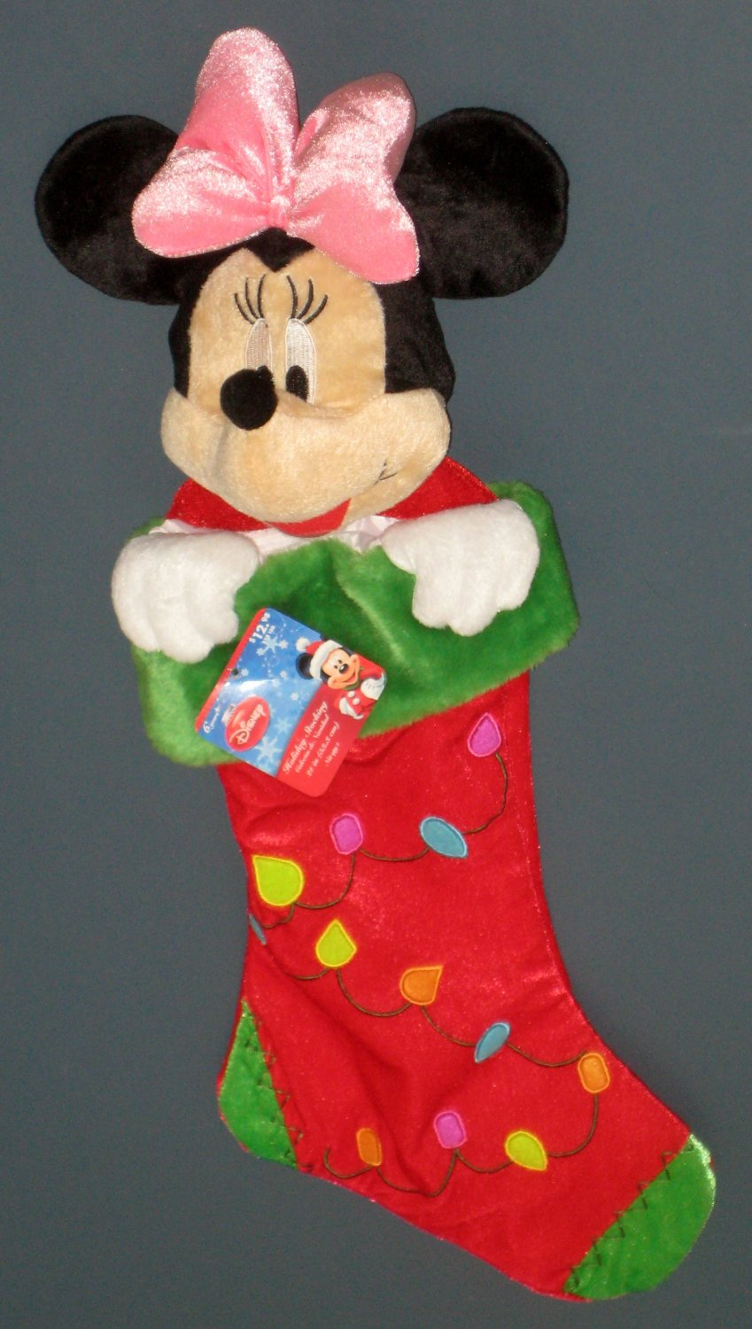 SOLD Minnie Mouse Plush Christmas Stocking with Tag Walt Disney