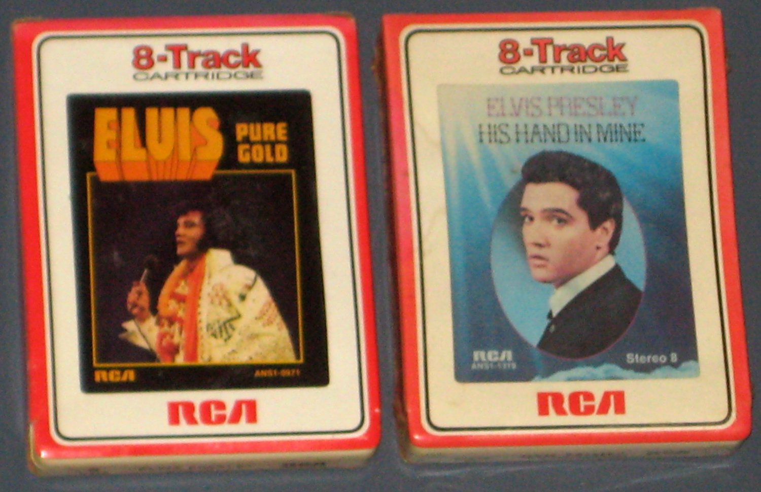 Elvis Presley 8 Track Cartridge Tape Lot of 2 His Hand in Mine Pure Gold Eight