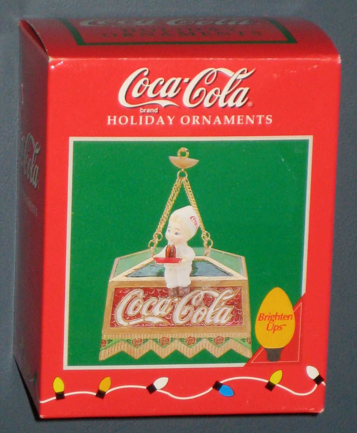 Coca-Cola Enesco Brighten Ups Christmas Ornament Soda Jerk Light Coke Holiday 209538 NIB 1996