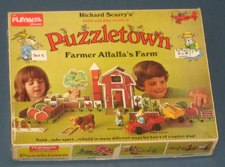 SOLD Richard Scarry's Puzzletown Set C Farmer Alfalfa's Farm 917 Playskool 1976