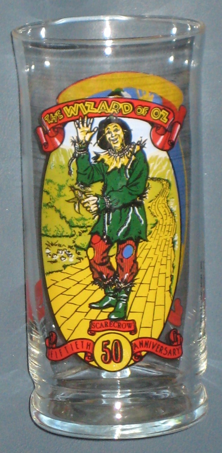 SOLD Wizard of Oz Scarecrow Drinking Glass 50th Anniversary Coca-Cola Coke 1989