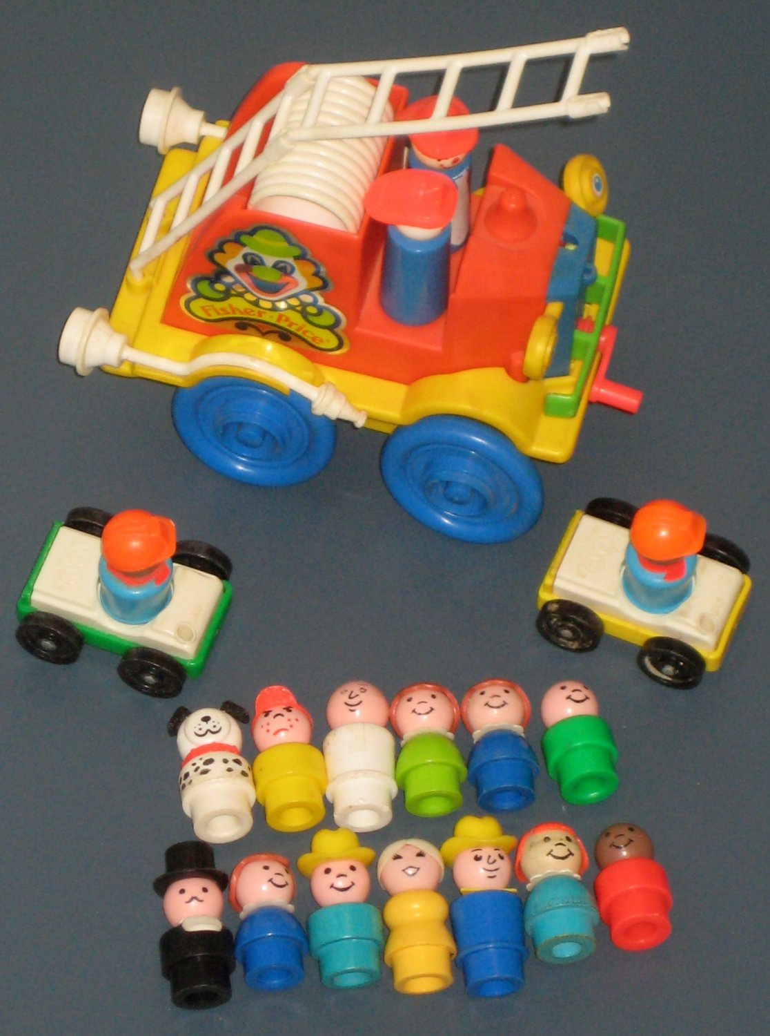 SOLD Fisher Price Vintage Little People Lot Fire Brigade Truck Tall Fireman Dalmatian Dog Wooden