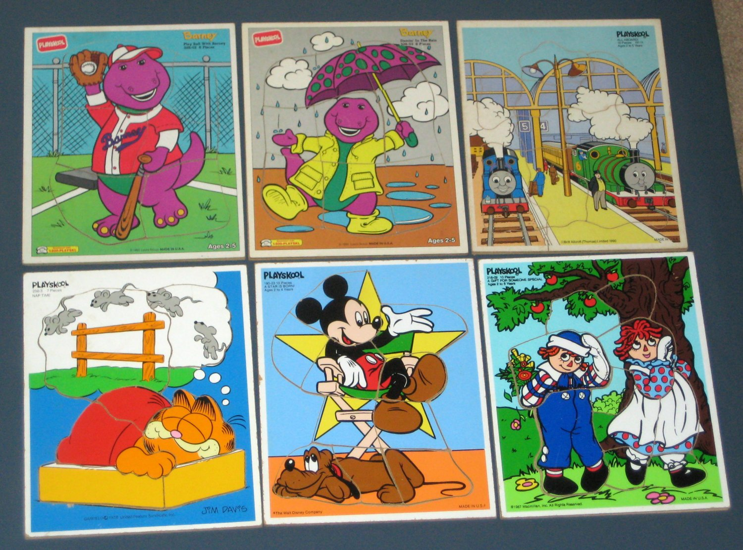 SOLD Playskool 22 Wooden Frame Tray Puzzle Lot Mickey Mouse Thomas Train Sesame Street Snow White