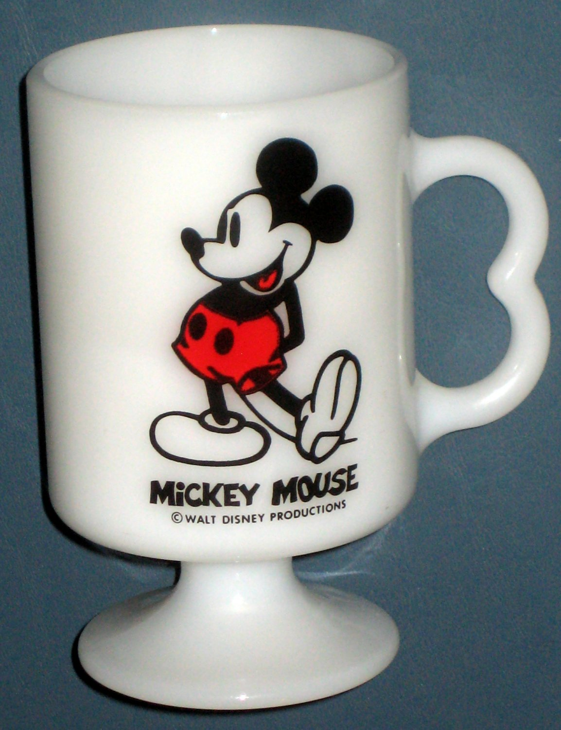 SOLD Mickey Mouse Milk Glass Mug + Fire King Anchor Hocking D Handle White Coffee Cup