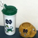 University Notre Dame Fighting Irish Ceramic Football Helmet Mug Plastic Drink Cup Coffee Straw 1986