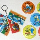The Smurfs Pinback Button Badge Lot + Keyring Smurfette Peyo Wallace Berrie SEPP Vintage 1980