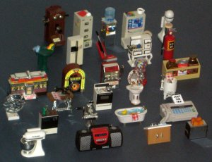 SOLD Acme Refrigerator Magnet Lot Dollhouse Furniture Sound Jukebox Telephone Diner Gumball Machine