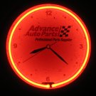 Advance Auto Parts Red Neon Light Wall Clock 14 Inch AC Power Metal Casing Glass Face Pull Chain