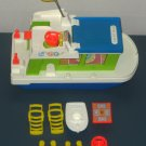 Fisher Price Play Family Houseboat Playsets 985 Pull Toy 1972 Life Preserver Speedboat Lounge Chairs