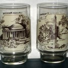 Coca-Cola Heritage Collector Series Glass Lot Coke Washington Monument Jefferson Memorial Sepia