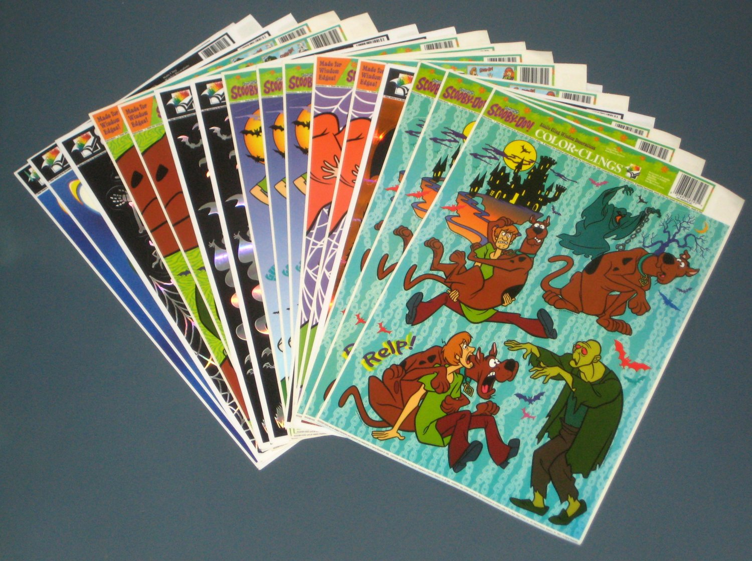 SOLD Halloween Static Window Clings Lot of 10 Unused Sheets Scooby Doo
