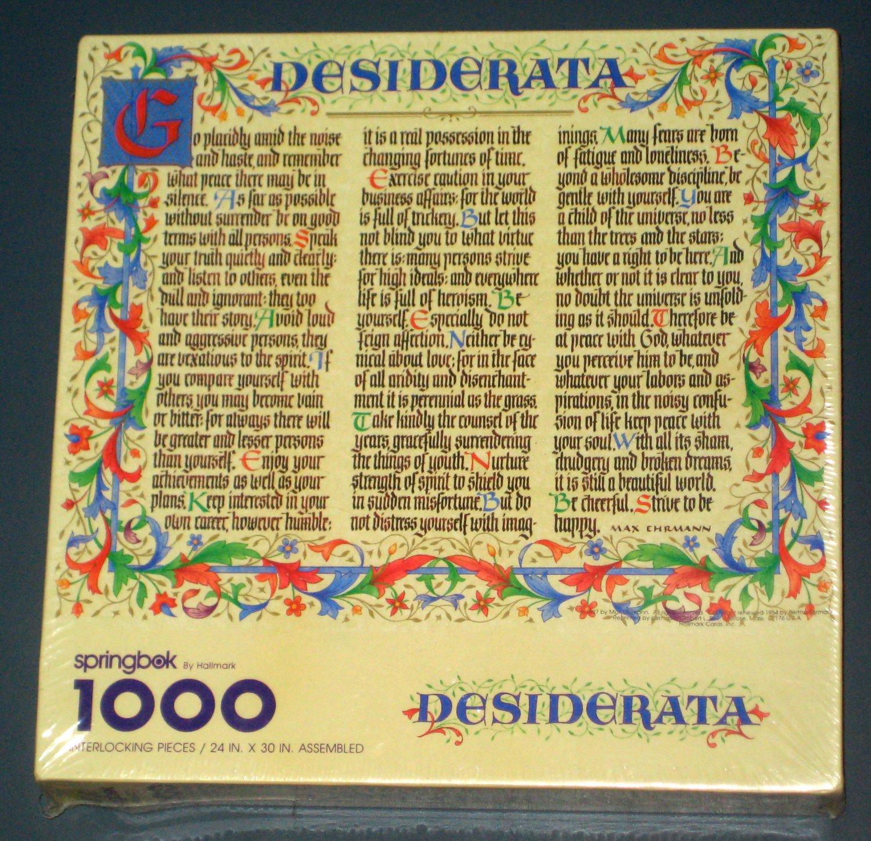 SOLD Desiderata 1000 Piece Jigsaw Puzzle  Springbok PZL6158 Hallmark  NIB Sealed