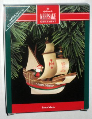 Santa Maria Hallmark Keepsake Christmas Ornament Boat Ship American Commemorative NIB 1992