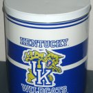 Kentucky Wildcats UK Glass Candy Jar & Popcorn Tin Metal Can Waste Basket Trash Trashcan Wastebasket