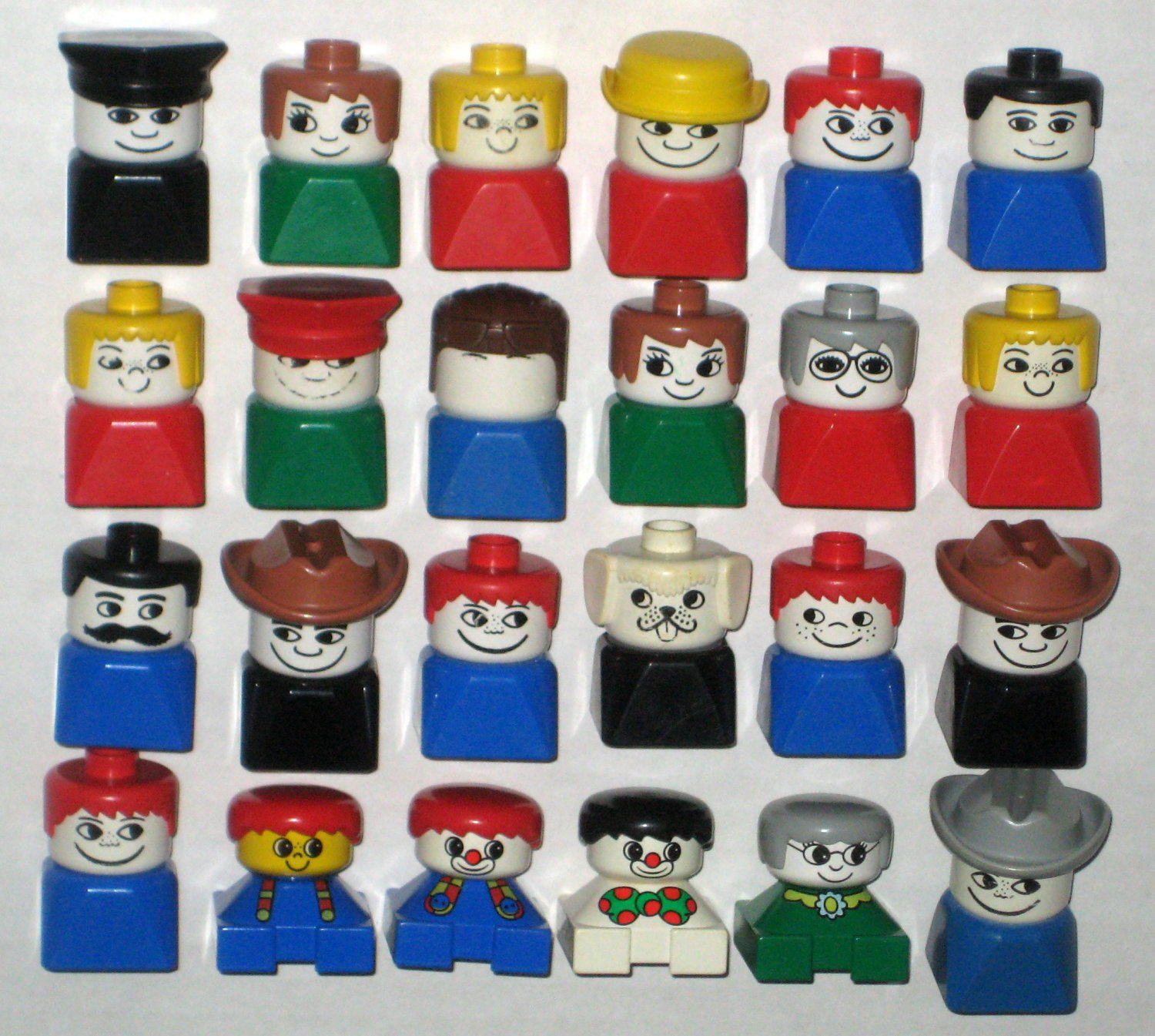 SOLD Lego Duplo Bust Tall Short People Figures 24 Parts Clown Cowboy Dog Boy Girl Police