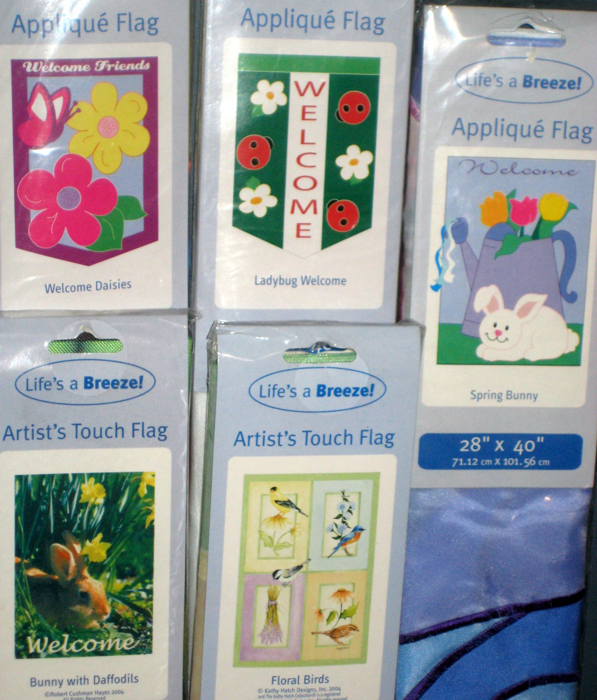 Lot 10 Decorative Garden Flags 5 Different Daisies Birds Welcome Ladybug Bunny 28 x 40 NIP