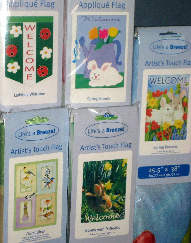 Lot 13 Decorative Garden Flags 5 Different Ladybug Birds Welcome Spring Bunny 28 x 40 NIP