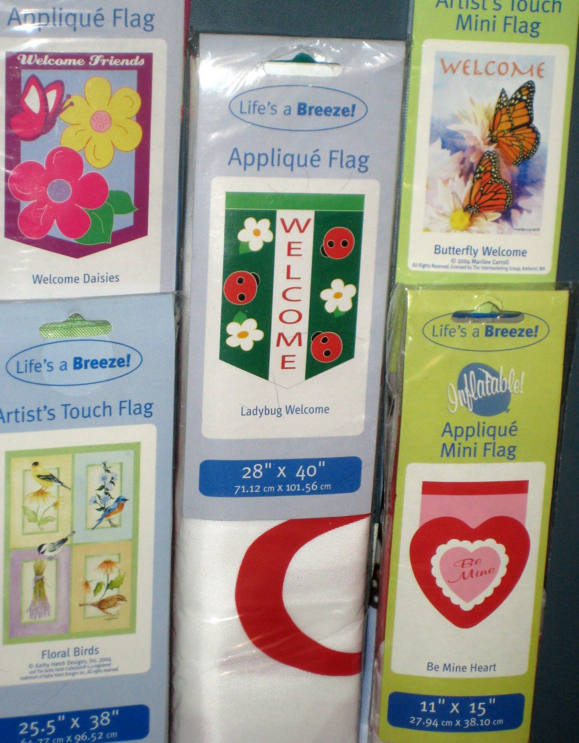 Lot 16 Decorative Garden Flags 5 Different Ladybug Birds Daisies Heart Butterfly 28 x 40 11 x 15 NIP