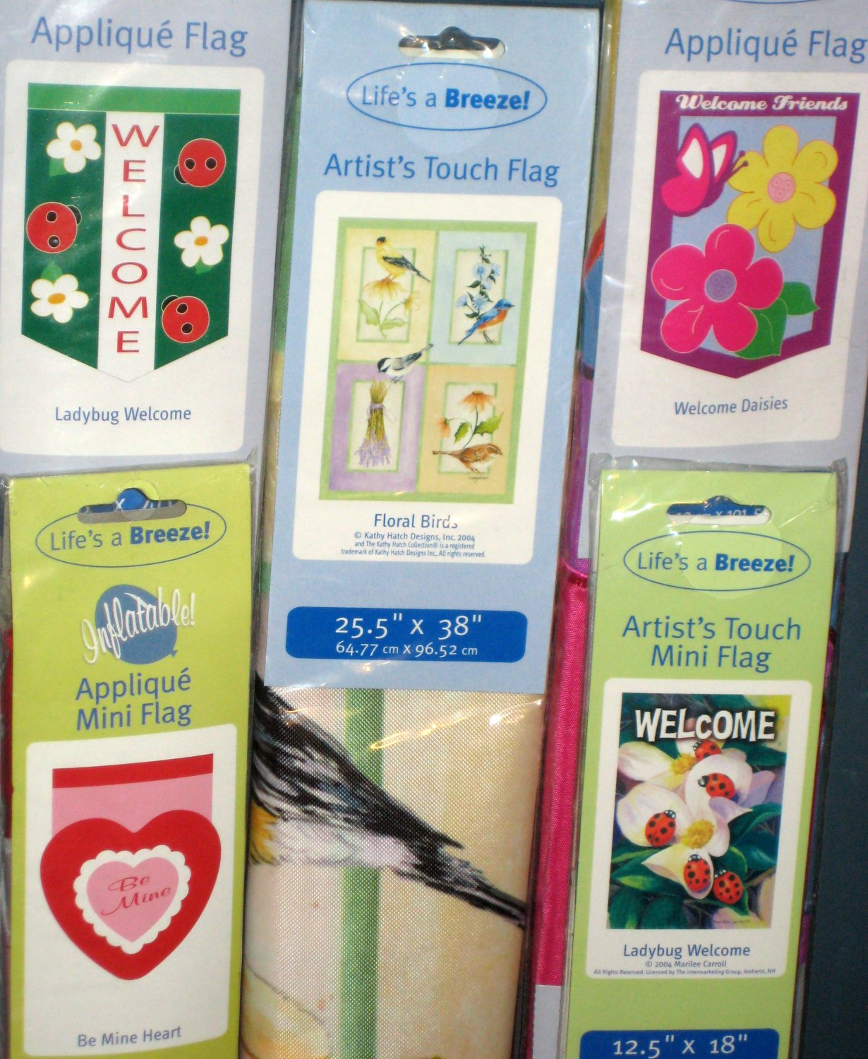 Lot 17 Decorative Garden Flags 5 Different Ladybug Heart Floral Birds Daisies 28 x 40 11 x 15 NIP