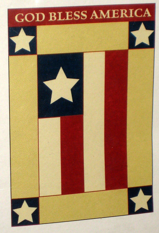 Americana God Bless America Applique Decorative Garden Flag 28 x 40 Red White Blue New NIP