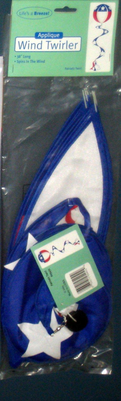 Patriotic Red White Blue Decorative Applique Wind Twirler Spinner 3 Feet Polyester New NIP