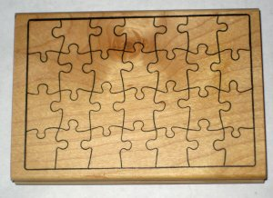 Jigsaw Puzzle Pieces Stamper Stamp Museum of Modern Rubber Wood Mounted 1994