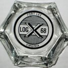 Fort Lee Virginia Glass Ashtray Ft Va Ash Tray Log X 68 Clear Black Lettering Military Base