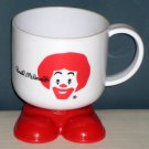 McDonald's Ronald McDonald White Plastic Handled Cup Mug with Feet Shoes