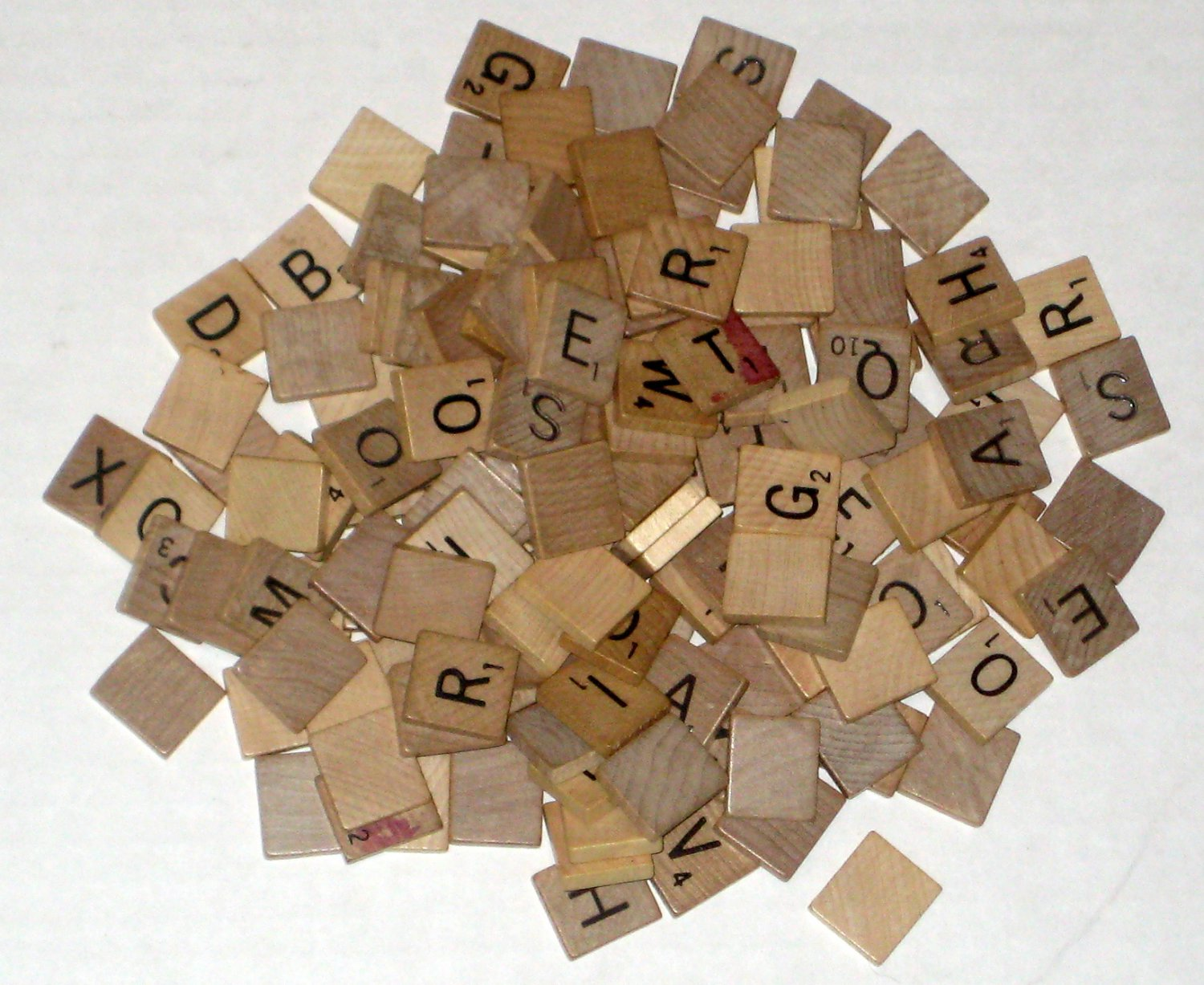 SOLD Natural Wood Scrabble Replacement Tiles Lot of 146 Wooden Crafts Scrapbooking