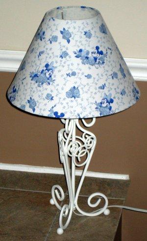 Mickey & Minnie Mouse Blue Toile Table Desk Lamp Walt Disney NIB