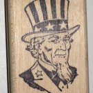 Uncle Sam Portrait Rubber Stamp Francisco Stamper Wood Mounted Excellent Condition Patriotic