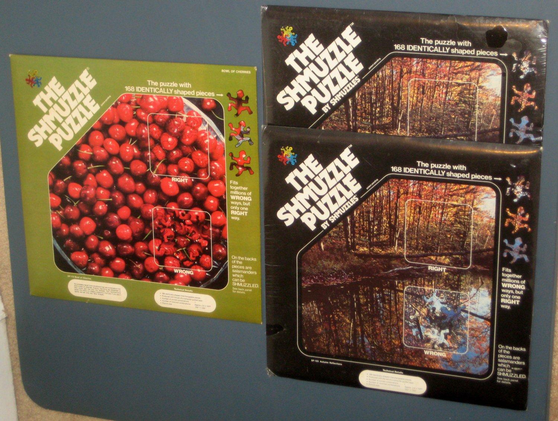 SOLD The Shmuzzle Puzzle Lot Bowl of Cherries Autumn Reflections Salamander 168 Pieces SP 103 113