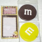 M&M Mars Candies Notecards Notepad Calendar Note Cards Pad Paper Yellow Brown NIP