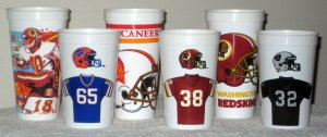ICEE Plastic Drink Cup Lot NFL National Football League 6 Different Team Logos Jerseys Helmets