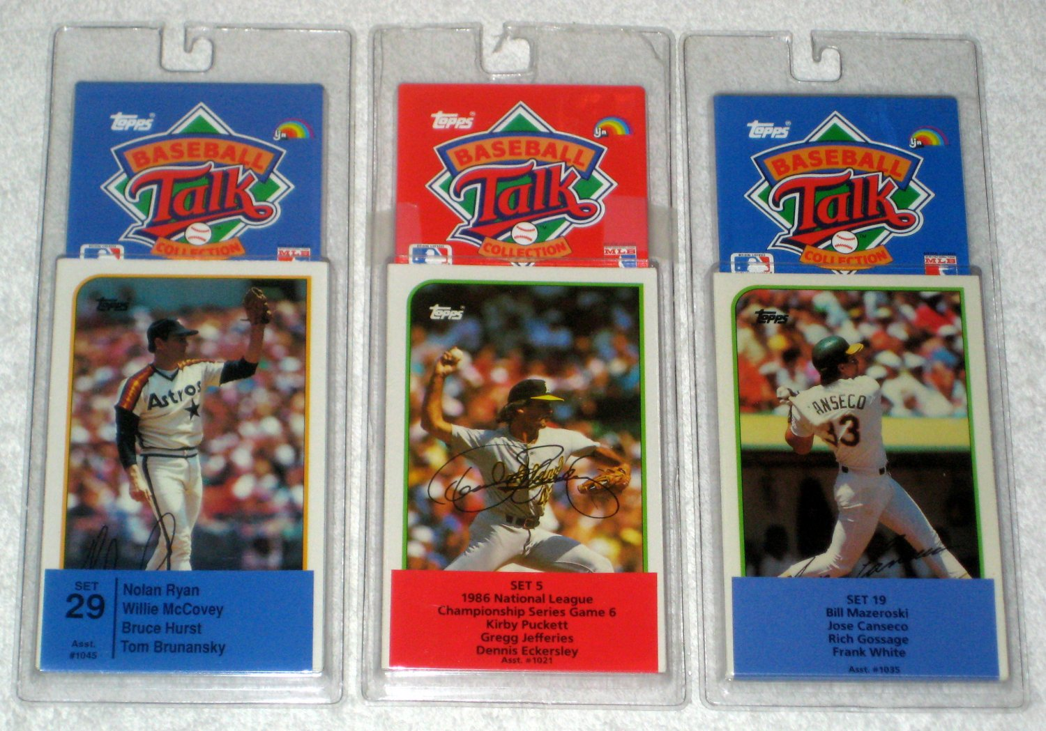 Topps Baseball Talk Collection SoundCards Cards Lot Sets #5 #19 #29 Ryan Puckett Canseco LJN 1989