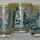 Vintage Southern Railway Drinking Glasses Lot of 5 Railroad Green White Tumblers
