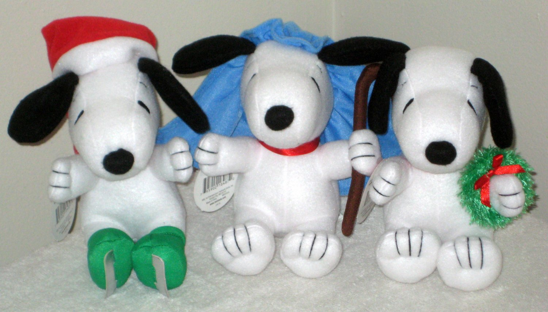 "Snoopy 6"" Plush Christmas Holiday Lot Hallmark Peanuts Gang Tis the Season Skatin Little Shepherd"