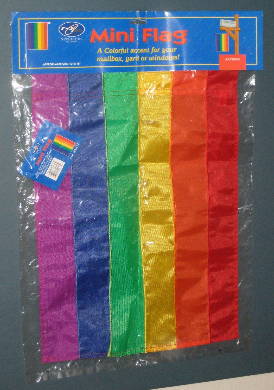Rainbow Decorative Mini Garden Flag 13 x 18 Nylon NCE Red Orange Yellow Green Indigo Violet NIP