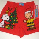 Peanuts Gang Large 36-38 Christmas Boxer Shorts Underwear Red Woodstock Snoopy Charlie Brown NWT