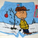 Peanuts Gang Large L 36-38 Christmas Boxer Shorts Underwear Blue Tree Charlie Brown NWT