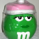 M&M's Candies Ceramic Jar Plain Green Girl Pink Hat Cookie Treat Candy Galerie 2003 NEW