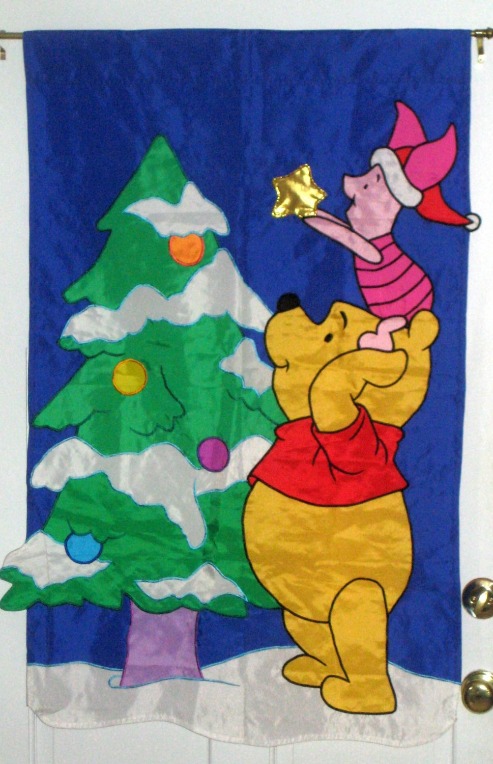 SOLD Winnie the Pooh Christmas Tree Decorative Garden Flag 28 x 44