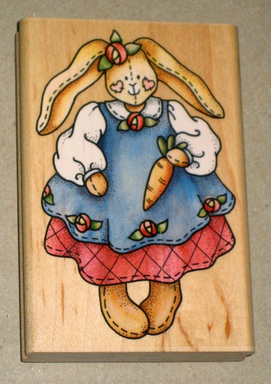 Betsy Bunny Rubber Stamp Stamper Wooden Rabbit Easter Stampede A1314F