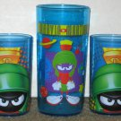 Marvin the Martian Plastic Tumbler Lot Drinking Glass Blue Cup 1997 Looney Tunes