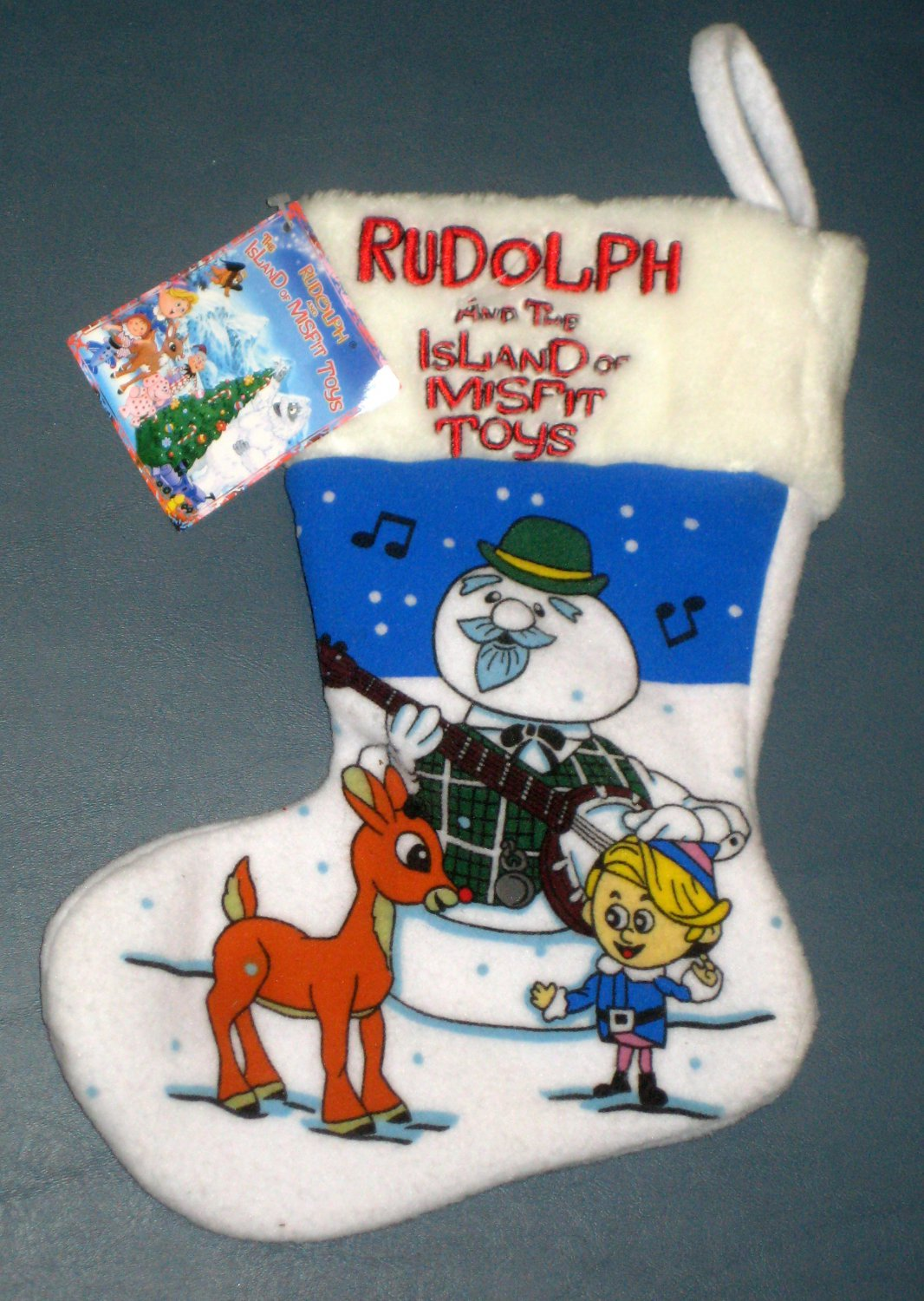 Rudolph and Island of Misfit Toys 11 Inch Christmas Stocking NWT Sam the Snowman Hermey